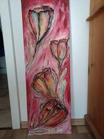 Buntesbild, Abstrakte blumen, Acrylmalerei, Blumen abstrakt