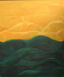 Abstrakt, Malerei, Blau, Gelb