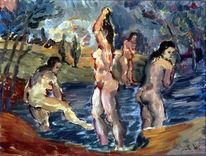 See, Malerei, Frau, Menschen