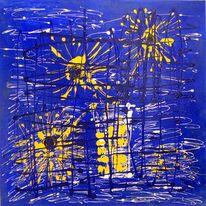 Malerei, Blumen, Abstrakt, Gelb