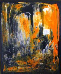 Schwarz weiß, Abstrakt, Orange, Modern
