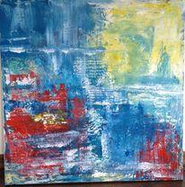 Acrylmalerei, Wasser, Blau, Abstrakt