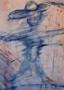 Hut, Malerei, Blau, Abstrakt