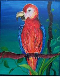 Malerei, Rot, Blau, Acrylmalerei