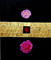 Gold, Blattgold, Rose, Ölmalerei