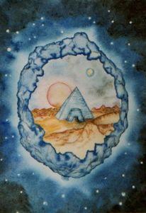 Pyramide, Grafik, Aquarellmalerei, Aquarell