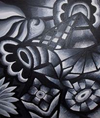 Malerei, Abstrakt, Mondschein, Landschaft