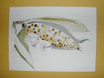 Stillleben, Malerei, Pilze, Mais