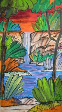 Landschaft, Malerei, Wasserfall, Abendrot