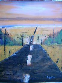 Straße, Malerei, Weite, Landschaft