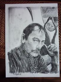 Portrait, Zigarette, Malerei, Blick