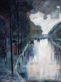 Malerei, Auto, Licht, Stadt