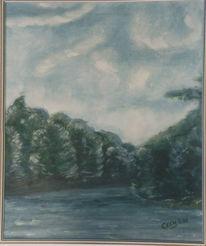 Weiden, Wasser, Malerei, Wind