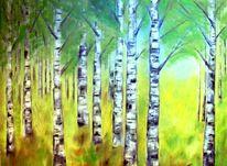 Wald, Birken, Frühling, Ölmalerei
