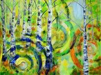 Ölmalerei, Wald, Vogel, Frühling