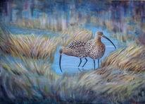 Große brachvögel, Vogel, Ölmalerei, Curlew