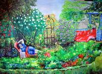 Ölmalerei, Garten, Pflanzen, Menschen