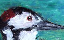 Tiere, Vogel, Ölmalerei, Specht