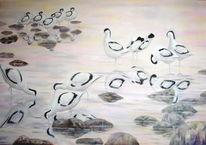 Morgengrauen, Vogel, Ölmalerei, Säbelschnäbler
