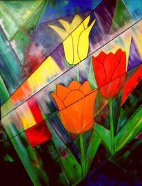 Pflanzen, Tulpen, Regen, Ölmalerei