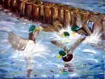 Vogel, Ölmalerei, Stockente, Streit