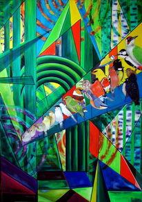 Ölmalerei, Vogel, Wald, Abstrakt