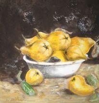 Malerei, Früchte, Stillleben, Quitten