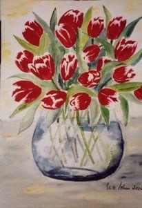 Malerei, Blumen, Stillleben, Tulpen