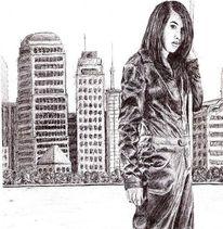 Stadt, Mädchen, Frau, Kugelschreiber