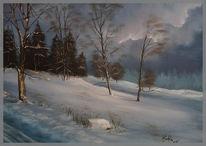 Schnee, Landschaft, Malerei, Wolken
