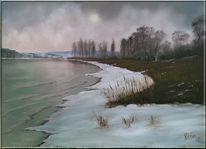 Wasser, Nebel, Malerei, Rhein