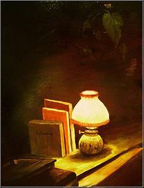 Apfelssig, Lampe, Buch, Dunkel