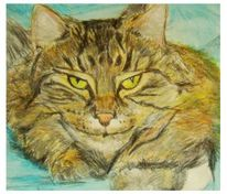 Tiere, Katze, Figural, Malerei