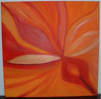 Gold, Acrylmalerei, Blumen, Orange