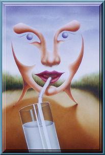 Surreal, Milch, Glas, Malerei