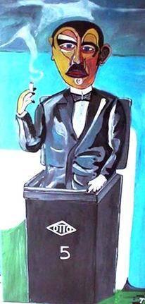 Mann, Mülltonne, Rauch, Anzug
