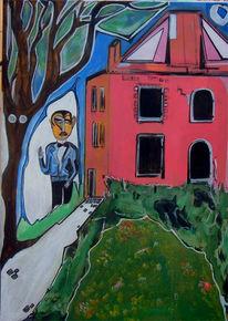 Haus, Malerei, Surreal, Woche