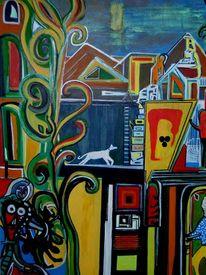 Karneval, Hund, Malerei, Surreal