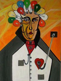 Mann, Surreal, Strom, Malerei