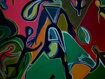Surreal, Frau, Tanz, Malerei