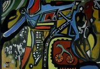 Verkehr, Surreal, Fahrrad, Malerei