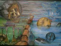 Surreal, Wasser, Malerei, Türkies