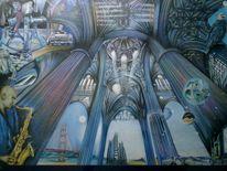 Dynamik, Gebäude, Perspektive, Malerei