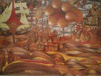 Surreal, Rot, Braun, Formen