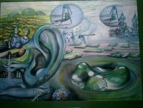 Grün, Geräusch, Malerei, Surreal