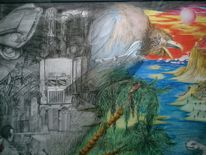 Malerei, Surreal, Welt, Mystik
