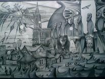 Surreal, Erinnerung, Wolf, Haus