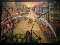 Stadt, Hauptstraße, Hubschrauber, Malerei