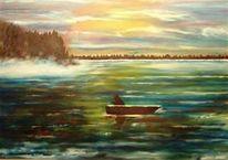 Landschaft, Malerei, See, Morgenstimmung