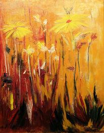 Abstrakt, Malerei, Wiese, Abendlicht